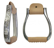 Polished Aluminium Engraved Barrel or Show Saddle Stirrups