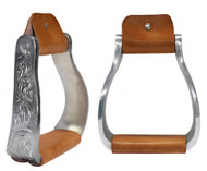 Aluminium Engraved Off Set Show Saddle Stirrups
