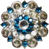 Showman™ Silver Concho with Blue and Clear Crystal Rhinestones
