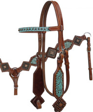 Showman ® Filigree Print Headstall and Breast Collar Set