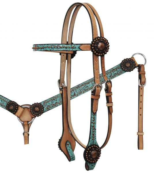 Showman Leather Bridle /& Breast Collar Set w// TEAL Filigree Print NEW HORSE TACK