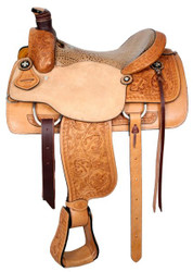 "16"", 17""  Basketweave Tooled Circle S Roping Saddle With Alligator Print Seat"