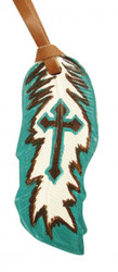 "5""  Teal and brown hand painted painted leather tie on feather with painted cross. 5"" x 2""."