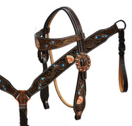 Showman ® Hand painted Native American Chief headstall and breast collar set.