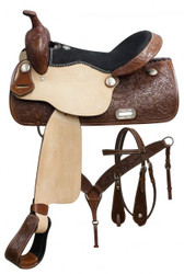 """15"""", 16"""", 17"""" Double T pleasure style saddle set with floral tooling."""