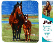"Showman Couture ™ Luxury plush blanket with mare and foal print. Queen Size 76"" x 93""."