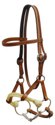 Showman ® Argentina cow leather side pull with snaffle bit.