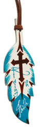 """7""""  Teal and brown hand painted painted leather tie on feather. 5"""" x 2""""."""