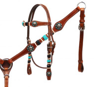 Showman ® Braided rawhide headstall and breast collar set.