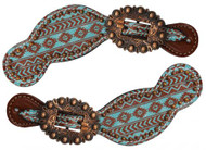 Showman ® Ladies Size Leather Spur Straps with Navajo diamond print.