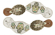 Showman ® Ladies Size Leather Spur Straps with Sugar Skull print.