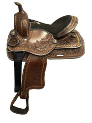 "13"" Double T  Youth/Pony saddle with floral tooling."