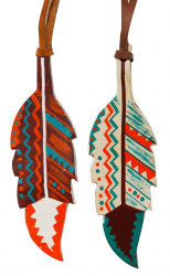 "5"" painted leather tie on feather with Southwest design. 5"" x 2"