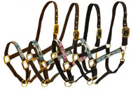 Full Size adjustable nylon halter with brass hardware and embroidred diamond design.