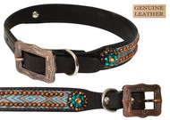 Showman Couture ™ Genuine leather dog collar with copper studded Navajo print.