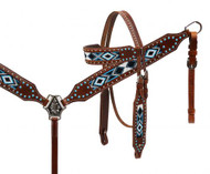 Showman® beaded inlay headstall and breast collar