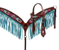 Showman ® Pastel Navajo headstall and fringe breast collar set.