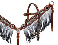 Showman® Black and white beaded headstall and breast collar with ombre fringe.
