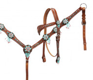 Showman® Headstall and breast collar set with beaded dream catchers.