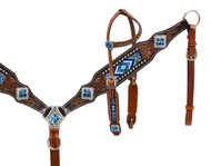 Showman® Headstall and breast collar with beaded inlay.