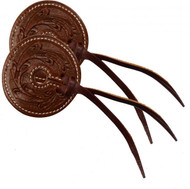 "Floral tooled 3"" wide leather bit guard with leather strap closure."