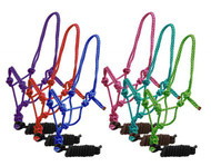 Horse size braided nylon cowboy knot rope halter with removable 7.5 ft lead.
