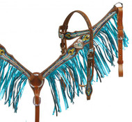 Showman ® Metallic painted peacock feather headstall and breast collar set.