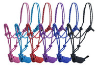 PONY size braided nylon cowboy knot rope halter with removable 7.5 ft lead.