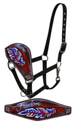 "Showman ® FULL SIZE Leather bronc halter with painted "" Freedom"" design."