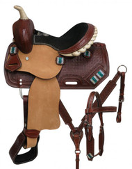"10"" Double T  Youth saddle set with crystal rhinestone conchos."
