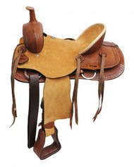 "13"" Double T Youth hard seat roper style saddle."