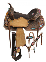 "14"", 15"", 16"" Double T  Embroidered Navajo saddle set."