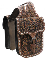 Showman ®  Floral tooled leather horn bag.