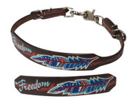 """Showman ® Medium leather wither strap with painted """" Freedom"""" design."""