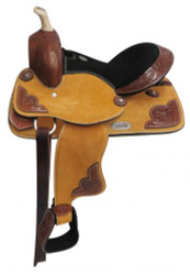 "13"" Double T Pony/Youth suede leather saddle."