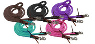 "Showman ® 96"" Derby nylon barrel reins with scissor snap ends."