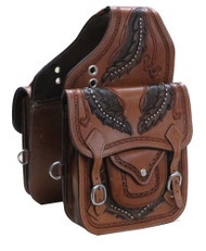 Showman ® Tooled leather saddle bag..