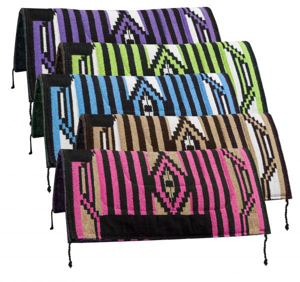 """32/"""" x 32/"""" Navajo 1/"""" Blended Felt Bottom SADDLE PAD with Suede Wear Leathers"""