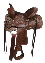 "10"" Double T  Youth saddle with floral tooling and silver studs."