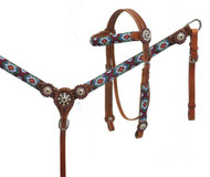 Showman ® Beaded headstall and breast collar set