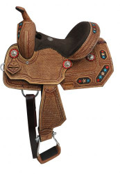 "12"" Double T Youth/Pony embroidered star barrel saddle."