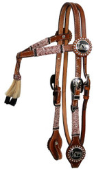 Showman ® double stitched leather furturity knot rawhide braided headstall with praying cowboy conchos.