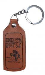 "Showman® Leather"" Kick The Dust Up "" key chain. 3.25"" x 1.5"""