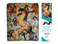 "Showman Couture ™ Luxury plush blanket with rearing horse print. Queen Size 76"" x 93""."