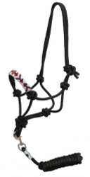 Showman ® Beaded nose cowboy knot rope halter w/ 7' lead..
