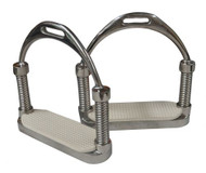Stainless steel weighted English irons with white rubber grip pads.