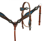 Showman ® Crystal rhinestone headstall and breast collar set with blue inlay.
