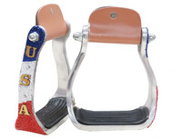 "Showman ® ""USA"" Beaded aluminum stirrups."