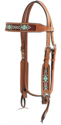Showman ® Light Argentina cow leather headstall with beaded inlays.