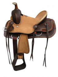 "12"" Double T Youth hard seat roper style saddle with basket tooled leather."